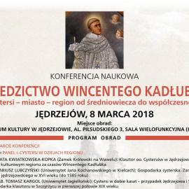 """Konferencja naukowa """"Dziedzictwo Wincentego Kadłubka. Cystersi - miasto - region od średniowiecza  do współczesności""""."""