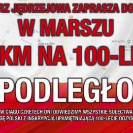 """Marsz """"100 km na 100-lecie Niepodległości"""" w Jędrzejowie"""